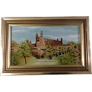 Yale University Painting, Eglomise Designs Reverse Painted Glass Framed Picture