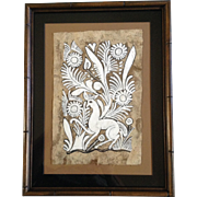 Ethnic Folk Art Aztec Peruvian Amate Bark Paper Painting with a Deer and Flowers Vintage ...