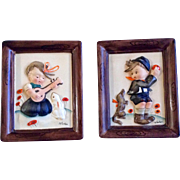 Napco Wall Hanging Pictures Signed by artist Norton Vintage Japan Hummel Style Ceramic