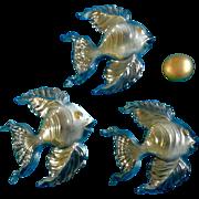 Irene Smith Wall Fish Plaques Black Opalescent Gold tone Ceramic Decor Vintage Retro Mid - ...
