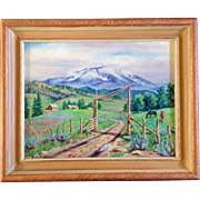 Jessie Scott (1912 - 2010), Painting, Mountain View Foothills Ranch With Horses and Cattle, ..