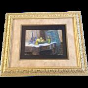 "Edith Damon Baxter, Titled ""Bohemian Glass Still Life,"" Vintage Pastel Drawing Pictu"