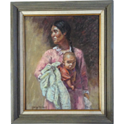 Gary Michael, Indian Woman With Child, Painting Works on Paper, Signed by Listed Artist ...