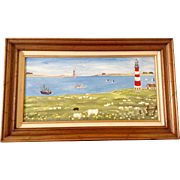 Muriel Wood, A Safe Harbor With Sheep and Light Houses, Original Acrylic Painting on Canvas ..