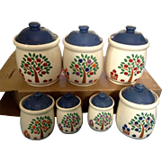 New Avenues Orchard Fruit Trees Jar Canister Vintage Discontinued RARE Ceramic 7 Piece Set