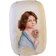 A. Jermaine, Young Lady Holding a Rose Flower, Original Painting on Porcelain Plate Signed by