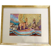 """Margaret R Pasolli CWS, """"3 Little Donkeys,"""" Painting Works on Paper Signed By Colora"""