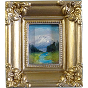 SOLD Very Small Original Postage Stamp Oil Painting on Paper, River with a View of Mountains
