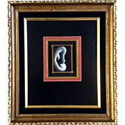 """Original Oil Painting,"""" Study of the Ear"""" Black and White Miniature Portrait"""