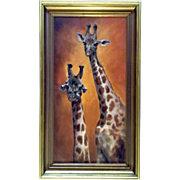 """Kay Sanchez, Original Oil Painting Signed by Artist, Titled, """"Giraffes."""""""