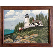 Trophy Allen, Folk Art Light House on a Hill, Acrylic on Canvas Board Signed by ...