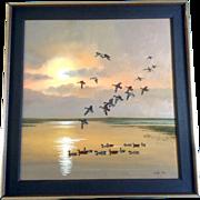 SOLD Walter Price, Flight of Mallard Ducks Landing on a Pond with a Sunset, Oil Painting Origi