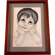 Cute Big Eye Boy, Original Colored Pencil Works on Paper, Signed by Artist Sally, Keane ...