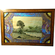 Paul Wilson, Hudson River Watercolor Painting, Butterfly Wings Morpho Iridescent Frame not a .