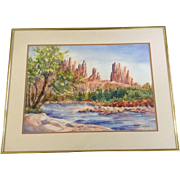 Virginia Clayton, Painting, Rock Spires Across The Desert Stream, Works on Paper, Signed by ..