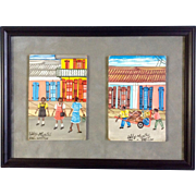 Eddy Myrthil (b1946), Folk Art Haitian Street Scenes, Acylic Paintings on Board, Signed by ...