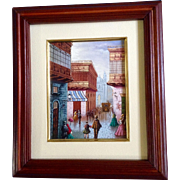 Castro, Havana Cuba Street Scene in the Late 1800's Oil Painting on Canvas Signed by ...