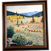 Yvonne M Holbrian (b 1931), Oil Painting Original on Board, Mel Coleman Cattle Drive Over ...