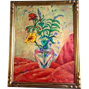 Karen Gillis Taylor, Wildflowers in a Crystal Heart Vase, Acrylic Painting on Canvas, Signed b