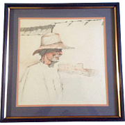 Man in Desert Mesa, Original Colored Pencil Drawing Works on Paper