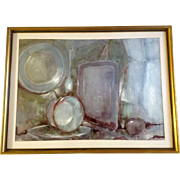 Elmer Floro, Pots & Pans Watercolor Painting Still life Works on Paper, Signed by Artist, ...