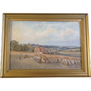C. A. Graves, Painting, The Wheat Harvest in the Countryside, Signed by British Artist, ...