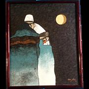 J. Mario, Oil Painting on Canvas Pueblo, Colorado Artist Native American Original
