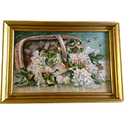 After Paul de Longpré (1855–1911) Flowers in a Basket, With Bees Hovering, Gouache ...