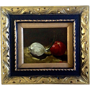 Leoni, Onion & Tomato, Still Life Original, Oil Painting on Board, Signed by Artist