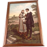 """George H. Bouton (1833-1905) Painting, """"John Alden and Priscilla's Courtship"""" Electro G"""