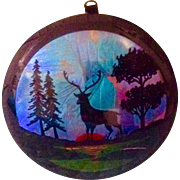 SOLD Original Mid-Century Reverse Painting Convex Glass Morpho Butterfly Wing Stag Deer Pictur