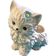 Inarco Planter Cat Kitty With Blue Eyes & Daisy Retro 1960's Ceramic Japan Vintage