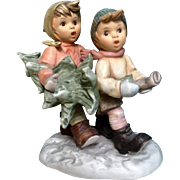 "Hummel Figurine Berta ""Tree Trimming Time"" 6 "" Tall Goebel Children Carrying Ch"