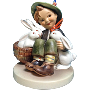 "Hummel Figurine ""Playmates"" # 58/1 Boy With His Bunny Rabbits Goebel 4-3/4"""