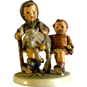 "Hummel Figurine ""Homeward Bound"" # 334 Goebel Girl and Boy With a Goat 5- 3/4"""