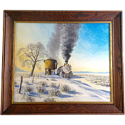 D. Harrison, Painting Acrylic on Board, Steam Engine #490 at Water Stop Just East of ...