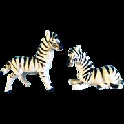 SOLD Bone China Miniature Zebra Animal Salt and Pepper Shakers Vintage