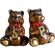 Treasure Craft Salt and Pepper Shakers Bear Vintage HTF Hard to Find Large Mid-Century