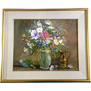 Elaine M Sweeney, Painting, Wild Flower Floral Bouquet Still life With Grapes and Golden Bronz