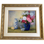 Elaine M Sweeney, Painting, Pink, Red White and Peach Rose Flower Floral Bouquet Still life ..