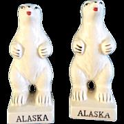 Victoria Ceramics Salt & Pepper Shakers Polar Bear Alaska Standing made in Japan Vintage