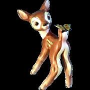 SOLD Goebel Bambi Deer Figurine Walt Disney's with Metal Butterfly V & Bee Porcelain 1950's