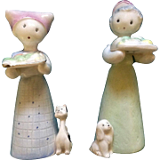 Salt & Pepper Shakers Girls With Dog and Cat Made in Japan Ceramic Figurines Vintage Tall