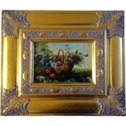 B. Ward, Painting, Wildflowers in a basket, Bright Gold Frame, Signed by Artist, Contemporary