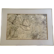 Donna Gaylord, Original Pen & Ink, Owls hidden in driftwood, Black and White Pointillism, Work
