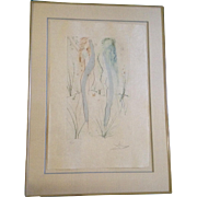 Salvador Dali (1904-1989) Two Nudes Dancing, Pencil signed and Numbered Etching Print with Gol