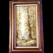 Julius Polek (b 1918) Oil Painting on Canvas, Listed German Artist, Two Children Walking Down