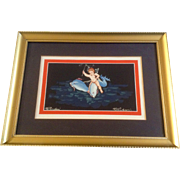Pompeii Vintage Gouache Watercolor Painting Works on Paper, Winged Cherub Angle Riding Dolphin