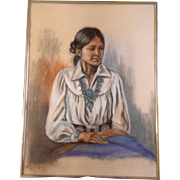 K. Egbert, Original Pastel Drawing Works on Paper, Signed by Artist, Indian Woman Wearing ...