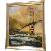SOLD Boswell, San Francisco Golden Gate Bridge in the Mist, Painting, Signed by Artist Origina